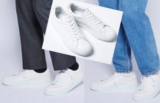 汎用性の高いオールホワイトは上質素材のスニーカーならオンオフ問わずにクリーンな印象
