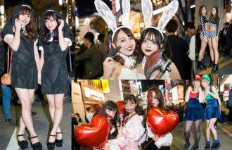 コスプレセクシー女子たちであふれたハロウィンの渋谷でキュートで、露出多めな仮装美女たちを撮影