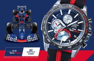 """「Scuderia Toro Rosso」と""""EDIFICE""""のコラボ!! 2019年用マシン「STR14」をモチーフにした薄型クロノグラフ"""